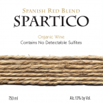Spartico Certified Organic Spanish Red Blend with No Detectable Sulfites