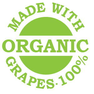 wine made with 100% orgaic grapes logo
