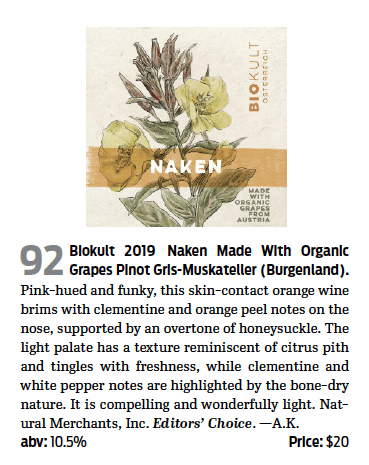 Biokult Naken Orange Wine 90 Point Wine of Austria